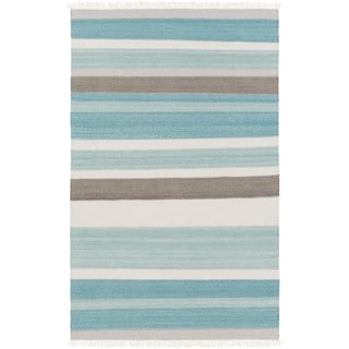 Hand-Woven Liora Wool/Cotton Area Rug (5 x 76 - Teal)