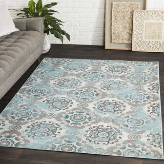 Enid Distressed Moroccan Medallions Area Rug - 6'9 x 9'8 (Option: Teal Blue - Grey)