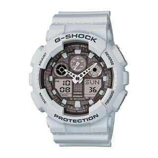 Casio G-Shock Men's GA100LG-8ACR Analog-Digital Dial Matte Grey Resin Watch