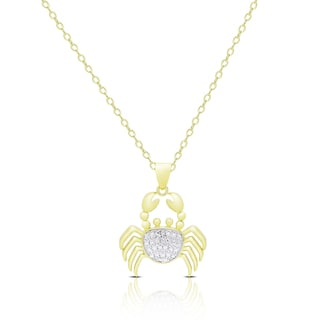 Finesque Gold Overlay Diamond Accent Crab Necklace