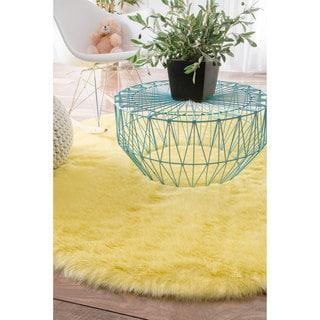 nuLOOM Cozy Soft and Plush Faux Sheepskin Shag Yellow Rug (5' Round)