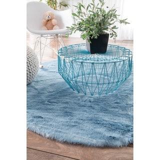 nuLOOM Cozy Soft and Plush Faux Sheepskin Shag Blue Rug (5' Round)
