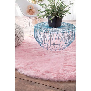 Silver Orchid Russell Cozy Soft and Plush Faux Sheepskin Shag Pink Rug - 5' Round
