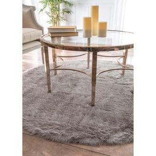 nuLOOM Cozy Soft and Plush Faux Sheepskin Shag Grey Rug (5' Round)