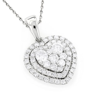 Luxurman 14k Gold 1ct Diamond Heart Pendant For Women Cluster Design (G-H, VS-SI)