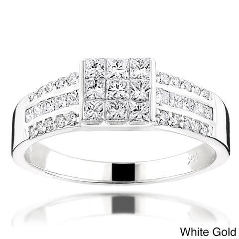 Luxurman 14k Gold 1 3/4ct TDW Round Diamond Ring