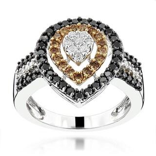 Luxurman 14k White Gold 1 1/8ct TDW White Brown Black Diamond Ring