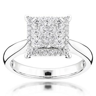 Luxurman 14k White Gold 3/4ct TDW Diamond Engagement Ring (G-H, VS1-VS2)