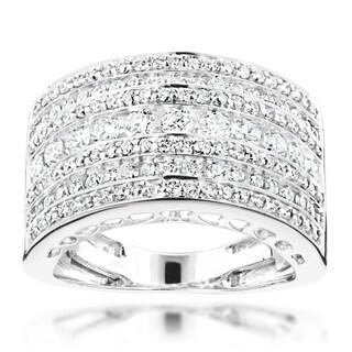 Luxurman 14k White Gold 1 2/5ct TDW Wide Diamond Ring (G-H, VS1-VS2)