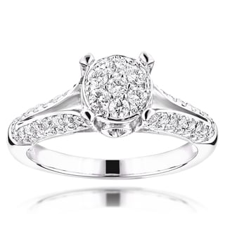 Luxurman 14k White Gold 1 1/6ct TDW Round Diamond Engagement Ring
