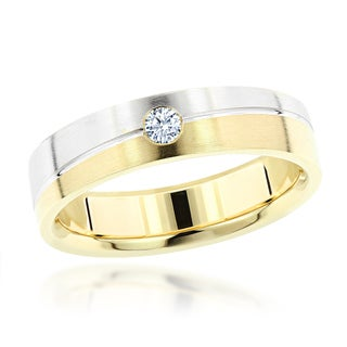 Luxurman 14k Two-tone Gold Men's Diamond Accent Wedding Band
