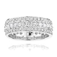 Luxurman 14k White Gold 2ct TDW Round Diamond Eternity Band Ring