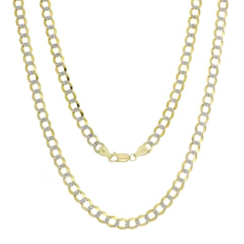 Roberto Martinez 14k Italian Gold 6 mm Pave-Curb Chain (18-24 inches) - Yellow