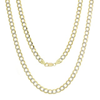 Sterling Essentials 14k Italian Gold 6 mm Pave-Curb Chain (18-24 inches)