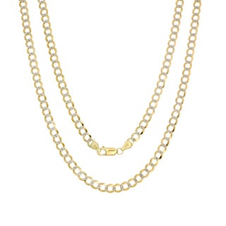 Sterling Essentials 14k Italian Gold 4 mm Pave-Curb Chain (18-24 inches)