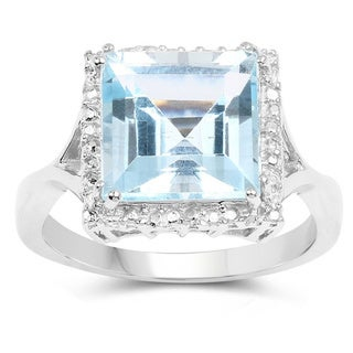 Olivia Leone Sterling Silver 5 7/8ct TGW Blue Topaz Ring