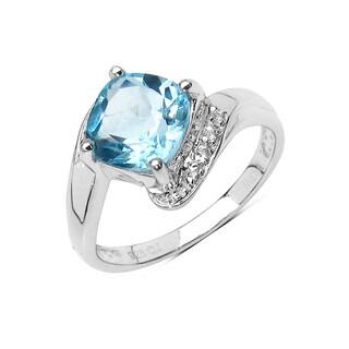Olivia Leone Sterling Silver 2 3/8ct TGW Blue Topaz and White Topaz Ring