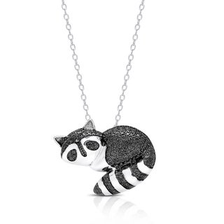 Finesque Silver Overlay Diamond Accent Racoon Necklace