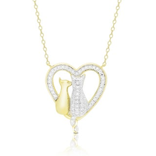 Finesque Gold Overlay Diamond Accent Cat Heart Necklace