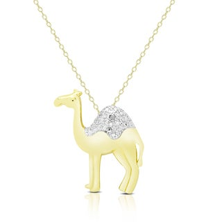 Finesque Gold Overlay Diamond Accent Camel Necklace