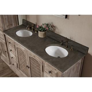 Rustic Style Matte Ash Grey Limestone Top 60 Inch Double Sink Bathroom  Vanity
