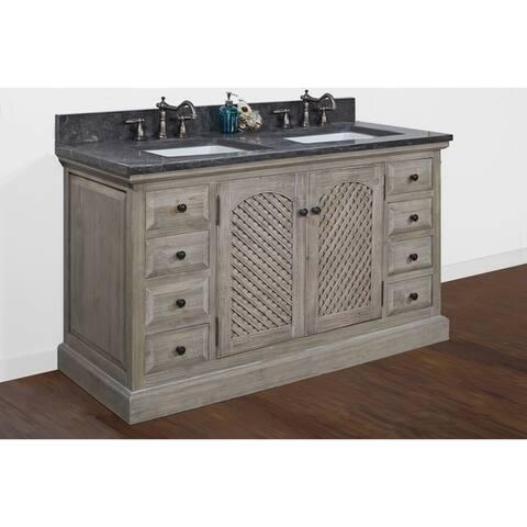 Rustic Style Dark Limestone Top 60 Inch Double Sink Bathroom Vanity