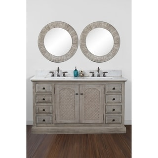 Rustic Style Quartz White Marble Top 60-inch Double Sink Bathroom Vanity