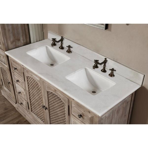 Rustic Style Quartz White Marble Top 60-inch Double Sink Bathroom Vanity