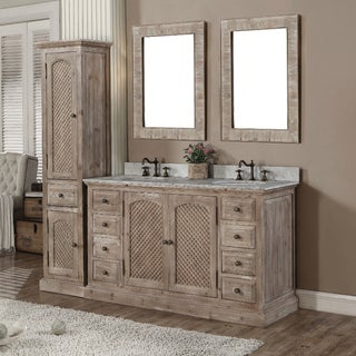 Rustic Style Quartz White Marble Top 60-inch Double Sink Bathroom Vanity with Matching Dual Wall Mirrors and Linen Tower