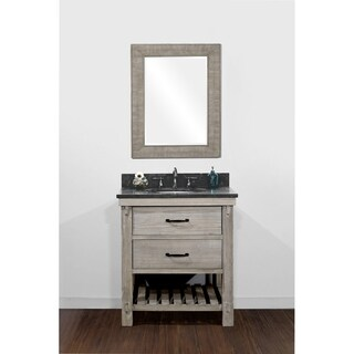 Rustic Style Matte Ash Grey Limestone Top 30-inch Bathroom Vanity with Matching Wall Mirror