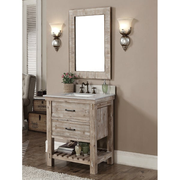 Rustic Style Matte Ash Grey Limestone Top 30 Inch Bathroom Vanity With Matching Wall Mirror
