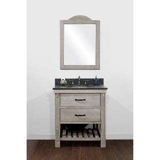 Rustic Style Matte Ash Grey Limestone Top 30 Inch Bathroom Vanity