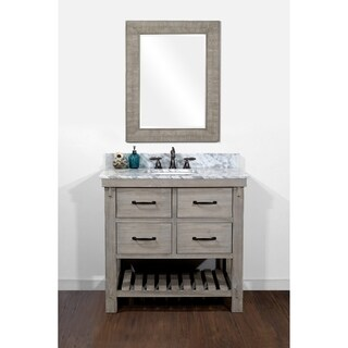 Rustic Style Carrara White Marble Top 36-inch Bathroom Vanity and a Matching Wall Mirror