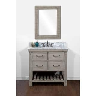 Rustic Style Carrara White Marble Top 36 Inch Bathroom Vanity And A Matching Wall Mirror