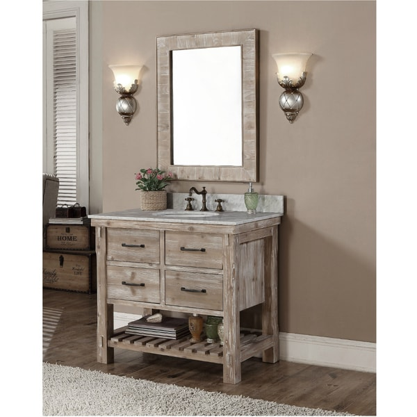 Shop Rustic Style Carrara White Marble Top 36 Inch Bathroom Vanity