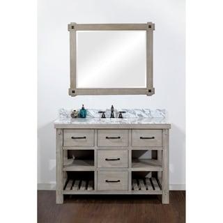 Rustic Style Carrara White Marble Top 48 Inch Bathroom Vanity