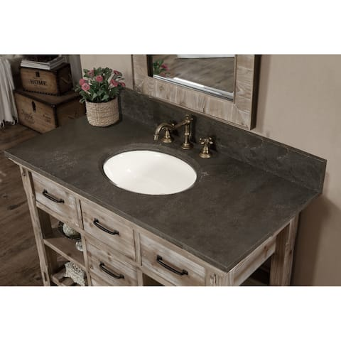 Rustic Style Dark Limestone Top 48-inch Bathroom Vanity