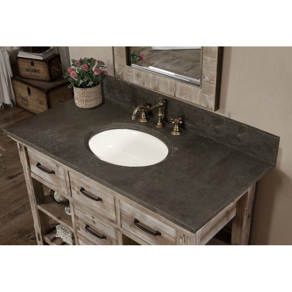 Shop Rustic Style Matte Ash Grey Limestone Top Inch Bathroom - 48 inch grey bathroom vanity