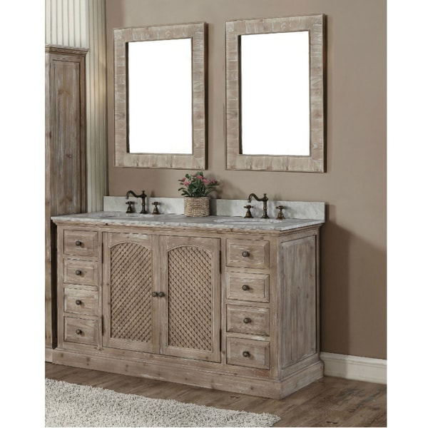 Rustic Style Quartz White Marble Top 60-inch Double Sink Bathroom Vanity with Dual Matching Wall Mirrors