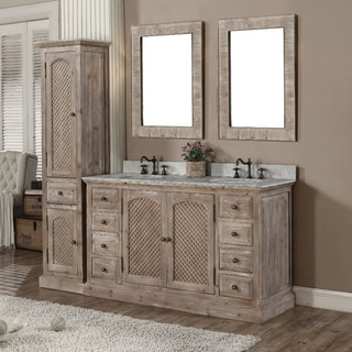 Rustic Style Matte Ash Grey Limestone Top 60-inch Double Sink Bathroom Vanity with Matching Dual Wall Mirrors and Linen Tower