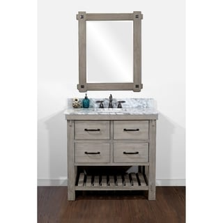 Rustic Style Carrara White Marble Top 36-inch Bathroom Vanity