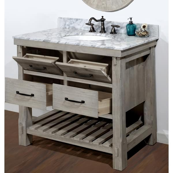 Rustic Style Carrara White Marble Top