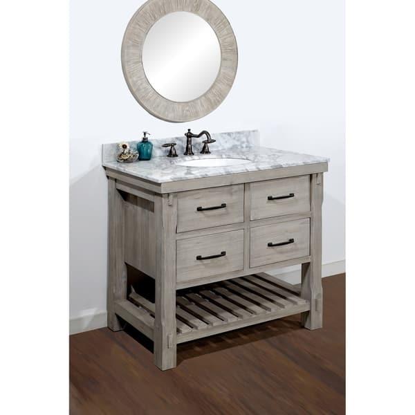 Rustic Style Carrara White Marble Top 36 Inch Bathroom Vanity Overstock 10991508