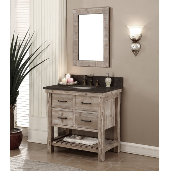 Rustic Style Matte Ash Grey Limestone Top 36 Inch Bathroom Vanity With Matching Wall Mirror