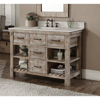 Rustic Style Quartz White Marble Top 48-inch Bathroom Vanity
