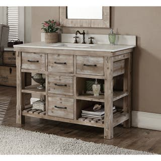 rustic style quartz white marble top 48 inch bathroom vanity - Rustic Bathroom