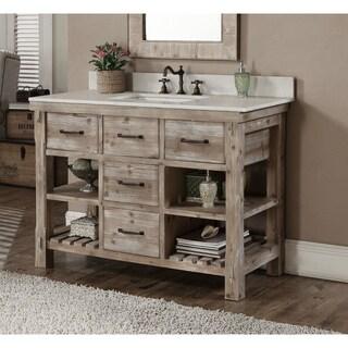 Rustic Style Quartz White Marble Top 48 Inch Bathroom Vanity