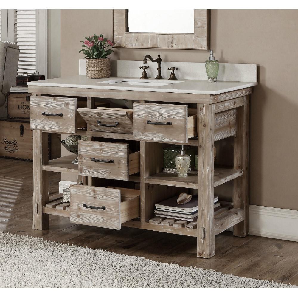 Shop Rustic Style Quartz White Marble Top 48 Inch Bathroom Vanity