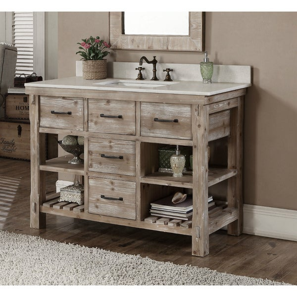 Superbe Rustic Style Quartz White Marble Top 48 Inch Bathroom Vanity