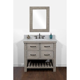 Rustic Style Quartz White Marble Top 36-inch Bathroom Vanity with Matching Wall Mirror